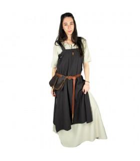 Túnica medieval para mujer Hildegard, marrón oscuro