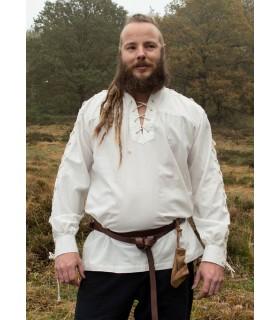Camisa medieval blanca natural con lazos modelo Corvin