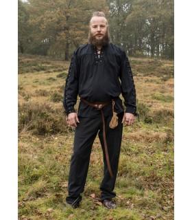 Camisa medieval negra con lazos modelo Corvin