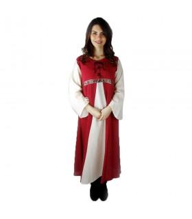 Vestido medieval bicolor modelo Donna, rojo-blanco natural