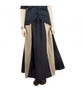 Falda medieval modelo Diana, negro-marrón claro
