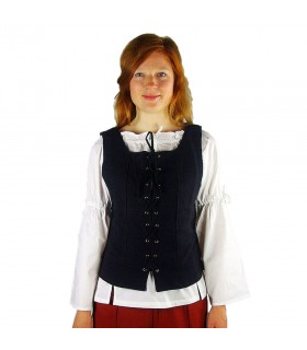 Chaleco medieval en algodón Franziska, negro