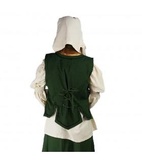 Chaleco medieval mujer modelo Selma, verde
