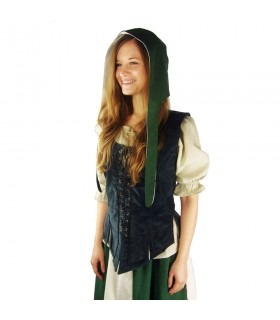 Crespina medieval mujer modelo Alex, verde y blanco natural