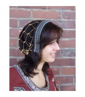 Cofia medieval de noble Elaine, color marrón