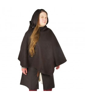 Gugel vikingo Egill, lana marrón oscuro