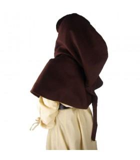 Gugel medieval de lana modelo Anita, marrón oscuro