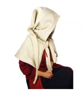 Gugel medieval de lana modelo Anita, blanco natural