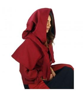 Gugel medieval de lana modelo Anita, rojo