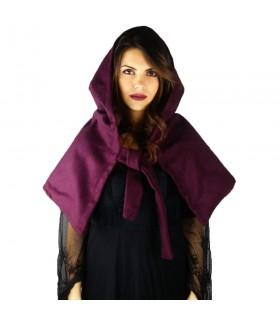 Gugel medieval de lana modelo Anita, morado