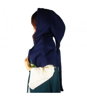 Gugel medieval de lana modelo Anita, azul