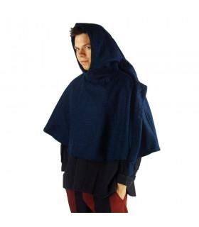 Gugel medieval de lana modelo Paul, azul