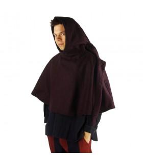 Gugel medieval de lana modelo Paul, marrón oscuro