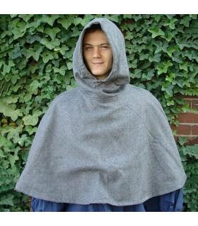 Gugel medieval de lana modelo Paul, gris
