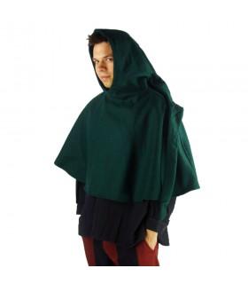 Gugel medieval de lana modelo Paul, verde