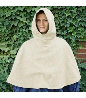 Gugel medieval de lana modelo Paul, blanco natural