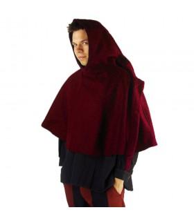 Gugel medieval de lana modelo Paul, rojo