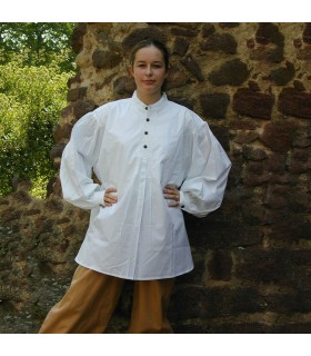 Camisa medieval ancha Oswald, color blanco