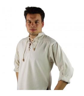 Camisa medieval cordones modelo Ansbert, color blanco natural