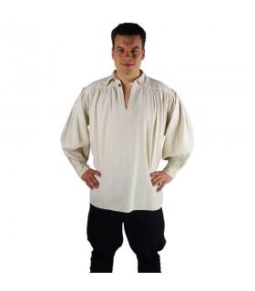 Camisa pirata cuello alto modelo James, blanco natural
