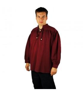 Camisa medieval con lazos modelo Georg, color rojo
