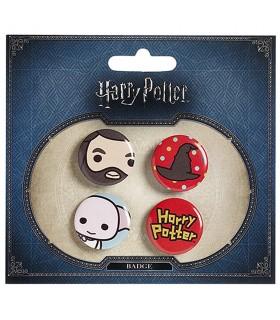 Set de 4 insignias, Hagrid, Sombrero, Dobby y Harry Potter