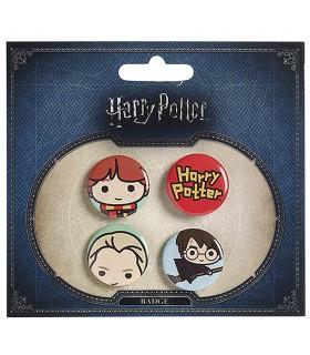 Set de 4 insignias, Ron, Draco, Harry y logo Harry Potter