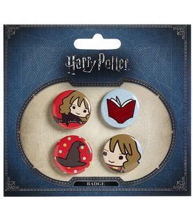 Set de 4 insignias, Hermione, Libro, Sombrero y Hermione en la escoba