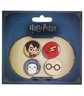 Set de 4 insignias, Harry, Hedwig, Gafas y Marca