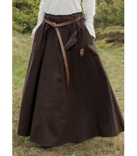 Falda medieval larga marrón oscuro