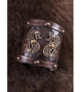 Pulsera Vikinga de cuero Doble Dragón