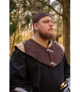 Gorjal medieval acolchado, marrón-marrón claro