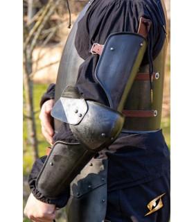 Protectores medievales de brazo, acabado negro