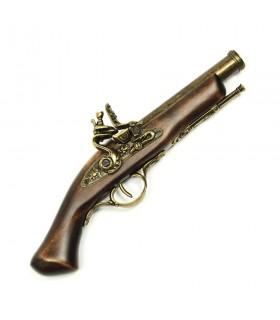 Pistola antigua de pedernal latonada