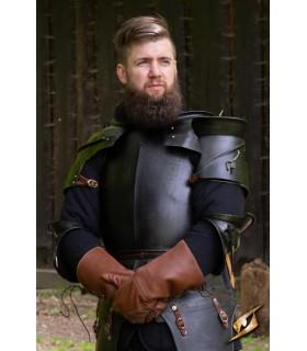 Hombreras medievales Milanesas, acero oscuro
