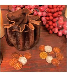 Bolso vikingo de cuero con 8 monedas