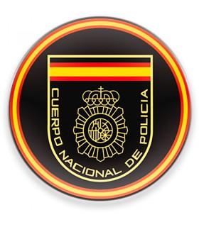 Imán Cuerpo Nacional de la Policía Española CNP, fondo negro, para nevera