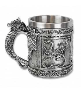 Taza decorativa medieval dragón