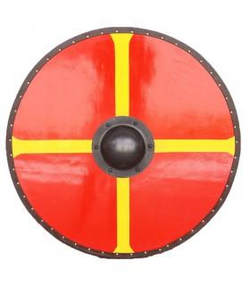 Escudo Vikingo Cruz de Windlass madera y acero
