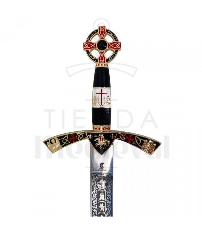 Espada Templaria decorada dorada
