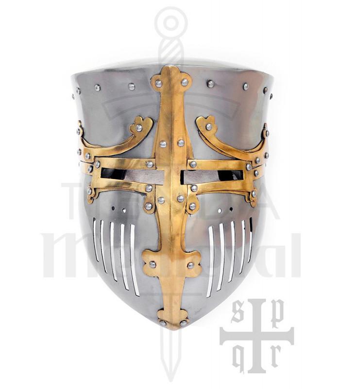 Yelmo primitivo de los Cruzados en acero 2mm. Siglos XII-XIII