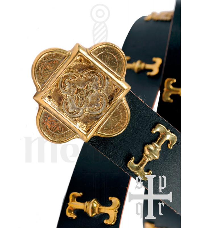 Cinturón medieval San Jorge en piel negra
