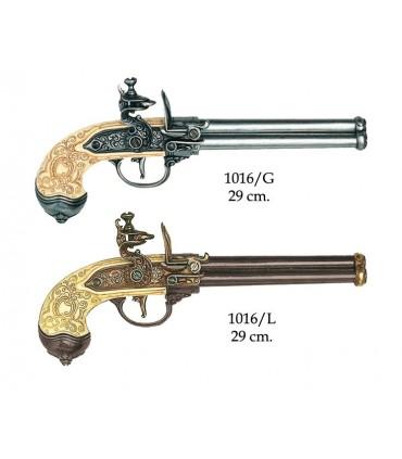 Pistola italiana de 3 cañones fabricada por Lorenzoni, 1680