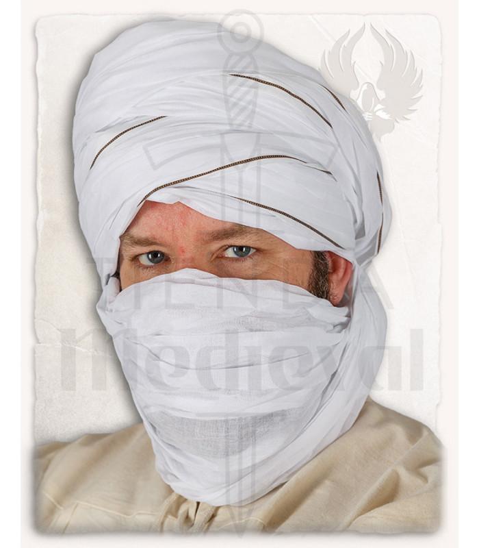 Turbante árabe Masud blanco auténtico