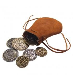 Bolsa de piel con 8 monedas españolas