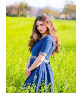 Vestido medieval mujer Enin, color azul