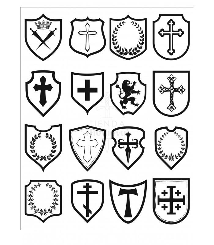 Tatuaje temporal con escudos de armas medievales