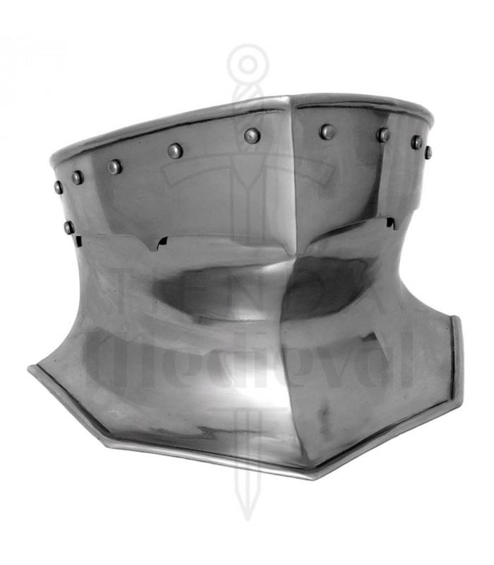 Protector de cuello de armadura medieval en acero, 1,6 mm.