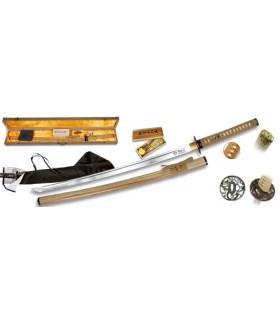 Carbon Steel Katana + cover + box + Reinigungs-Kit + 2 Tsubas