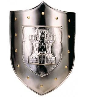 Escudo con grabado de castillo y tachuelas doradas